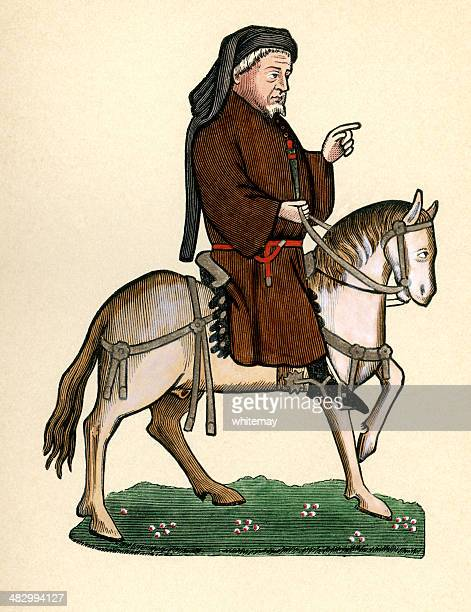 canterbury tales - geoffrey chaucer as a pilgrim on horseback - pilgrim stock illustrations, clip art, cartoons, & icons