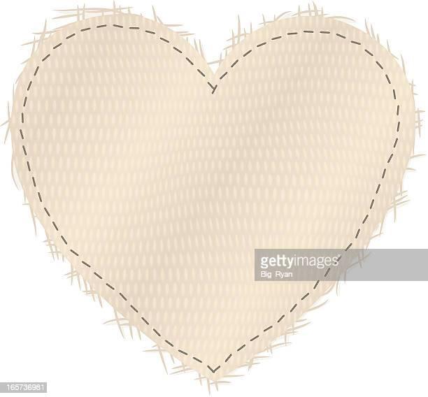 illustrations, cliparts, dessins animés et icônes de coeur en toile - point de suture
