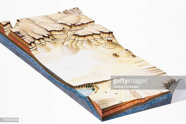 Canyon formed by weathering and erosion, cross-section, elevated view