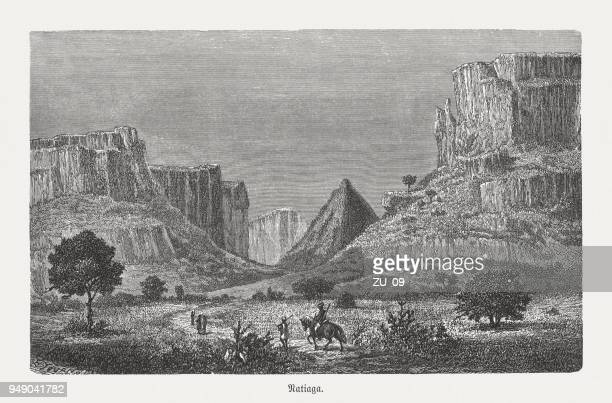 canyon near natagia, mali, wood engraving, published in 1868 - senegal stock illustrations, clip art, cartoons, & icons