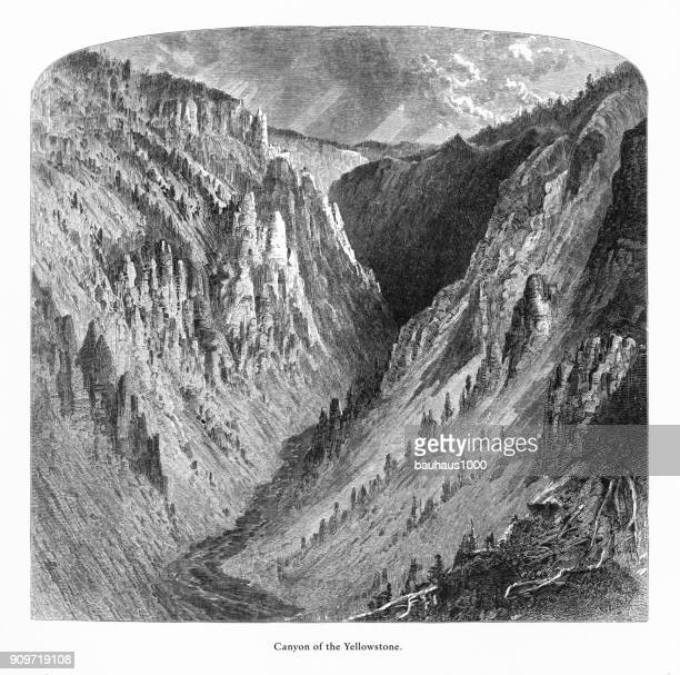 Canyon of the Yellowtone, Grand Canyon, Yellowstone National Park, Wyoming, Montana, and Idaho, United States, American Victorian Engraving, 1872
