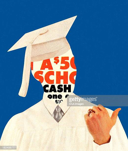 cap and gown - obscured face stock illustrations, clip art, cartoons, & icons