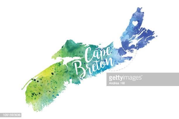 cape breton, nova scotia watercolor raster map illustration - cape breton island stock illustrations, clip art, cartoons, & icons