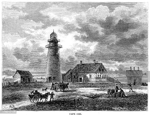 cape cod in the 18th century - colonial style stock illustrations
