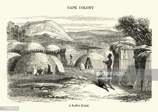 Cape colony, Kraal, African village, 19th Century