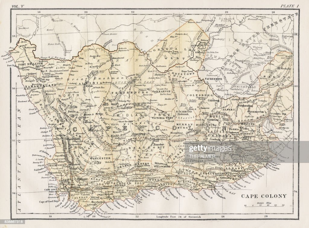 Cape Colony map 1883 : stock illustration