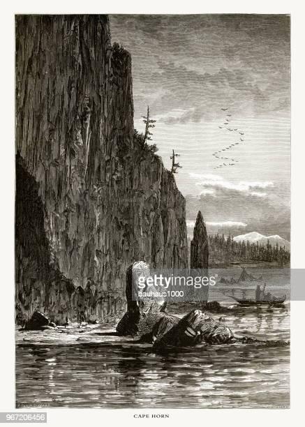 ホーン岬, ワシントン, アメリカ合衆国, アメリカ ビクトリア朝彫刻、1872 - 内陸部の岩柱点のイラスト素材/クリップアート素材/マンガ素材/アイコン素材