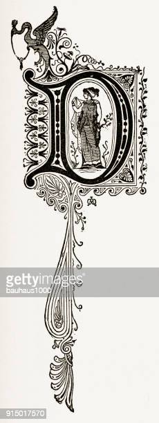 "d capital letter, ornate victorian capital letter ""d"" circa 1887 - letter d stock illustrations, clip art, cartoons, & icons"