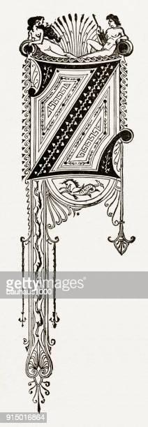 """Z Capital Letter, Ornate Victorian Capital Letter """"Z"""" Circa 1887"""