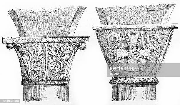 capital of stiri's church - byzantine stock illustrations