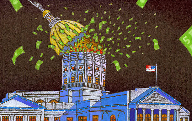 capital spending - government waste - government debt stock illustrations