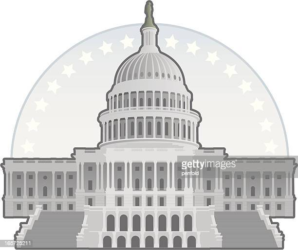 capitol building - architectural dome stock illustrations, clip art, cartoons, & icons