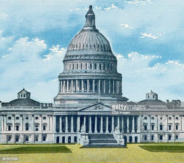 capitol building - american culture stock illustrations