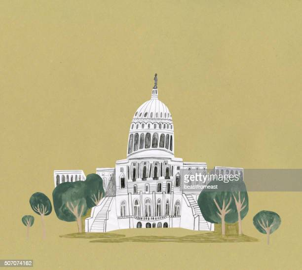 capitol building, washington in united states - president stock illustrations, clip art, cartoons, & icons