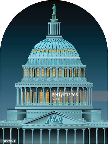 ilustrações, clipart, desenhos animados e ícones de capitol dome à noite - pediment