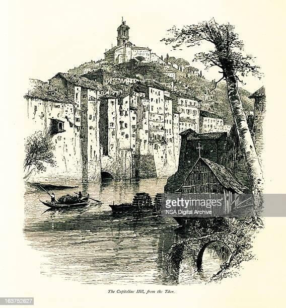 capitoline hill, rome, italy i antique european illustrations - religious dress stock illustrations, clip art, cartoons, & icons