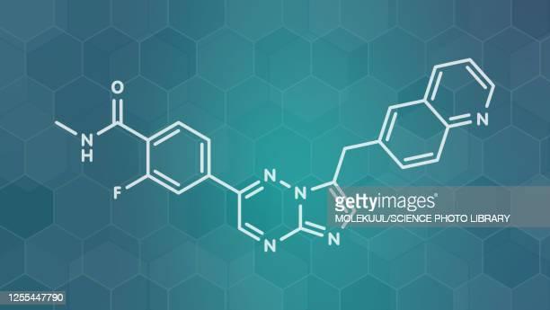 capmatinib cancer drug molecule, illustration - proto oncogene stock illustrations