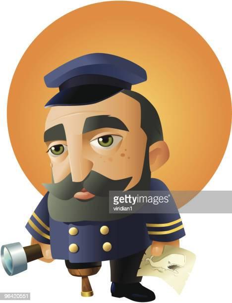 captain ahab - boat captain stock illustrations, clip art, cartoons, & icons