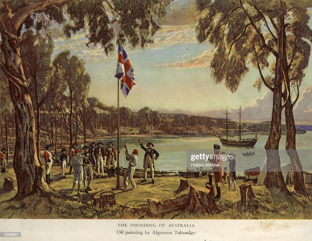 Captain Arthur Phillip (1738 - 1814) of the Royal Navy, raises the flag to declare British possession of New South Wales at Sydney Cove, Australia, 26th January 1788. llustration from 'The Founding of Australia', a 1939 oil painting by Algernon Talmadge.