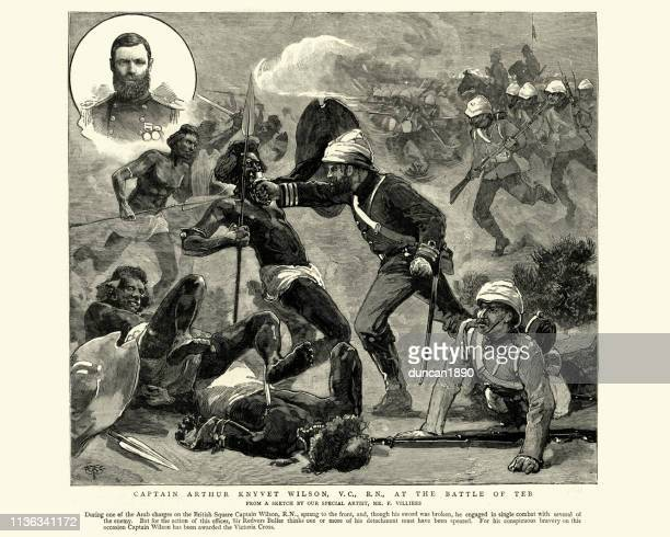 captain arthur wilson winning the victoria cross at el teb - british empire stock illustrations