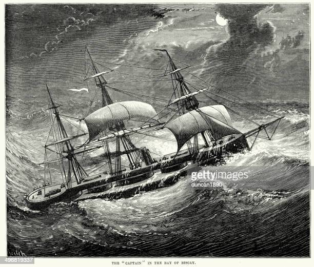 hms captain in the bay of biscay - bay of biscay stock illustrations, clip art, cartoons, & icons