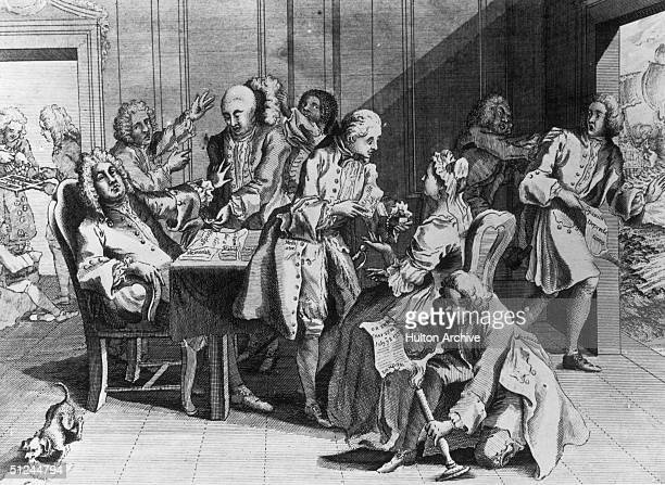 Captain Jenkins shows British Prime Minister Robert Walpole his severed ear, which he claims the Spanish cut off, while other merchants complain of...