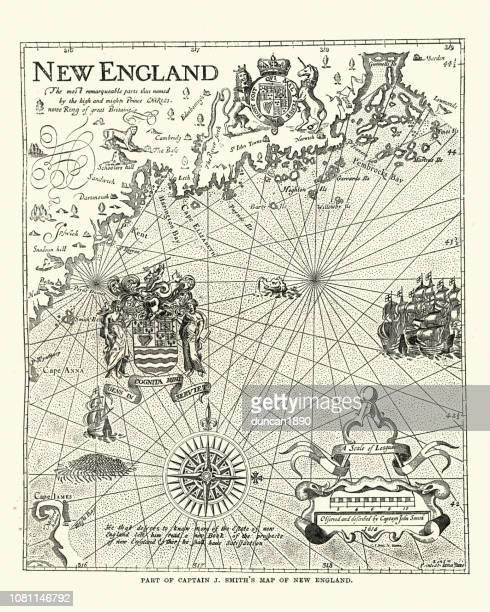 captain john smith's map of new england, 17th century - 1600s stock illustrations