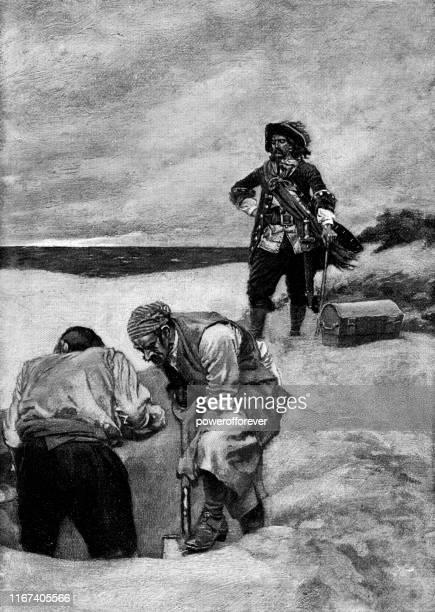 captain kidd and pirates burying treasure on gardiner's island in new york, united states - 17th century - pirate criminal stock illustrations