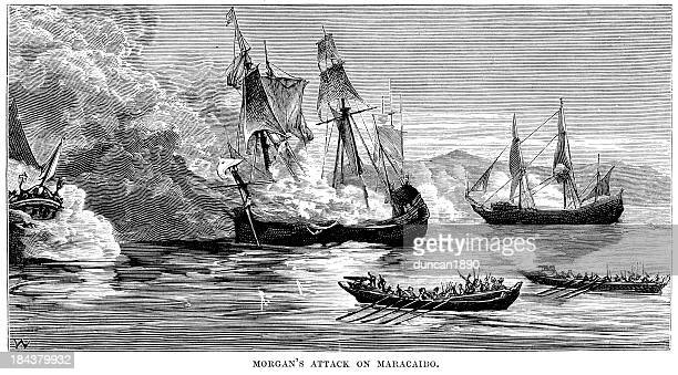 captain morgan's attack on maracaibo - pirate boat stock illustrations, clip art, cartoons, & icons