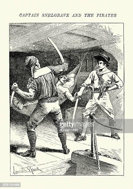 ilustrações de stock, clip art, desenhos animados e ícones de capitão william snelgrave e dos piratas - luta de espadas