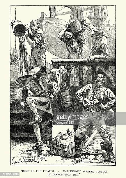 captain william snelgrave and the pirates - pirate criminal stock illustrations