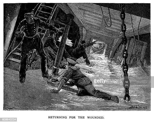 Captaing saving wpounded sailors on sinking warship