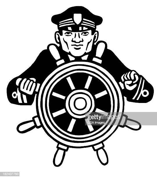 captian at wheel of ship - boat captain stock illustrations, clip art, cartoons, & icons