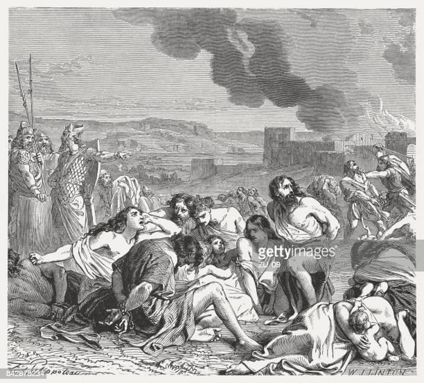 captivity of the moabites by nebuchadnezzar (jeremiah 48), published 1886 - ancient babylon stock illustrations