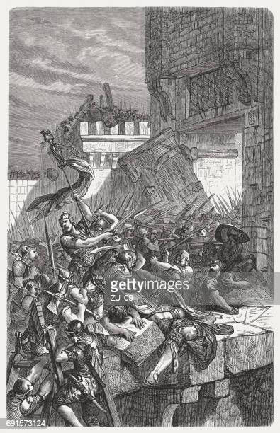 capture of a city by the assyrians, published in 1880 - 8th century bc stock illustrations, clip art, cartoons, & icons