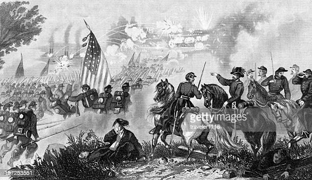 capture of fort donelson - american civil war battle stock illustrations