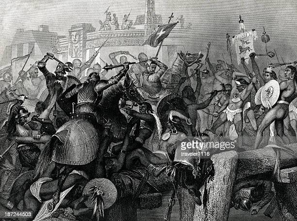 capture of mexico city by cortez - spanish culture stock illustrations