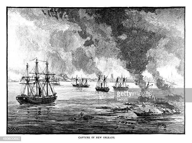 capture of new orleans - battleship stock illustrations