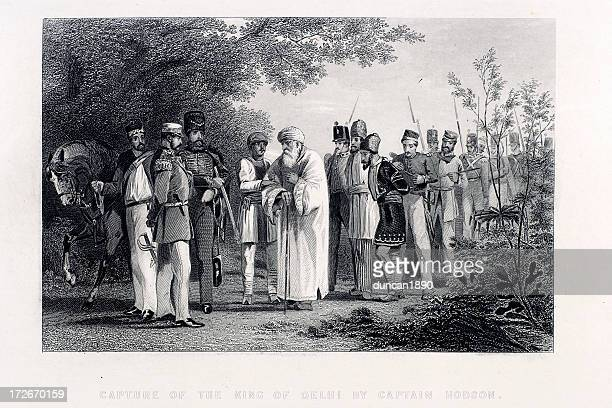 capture of the king - mughal empire stock illustrations
