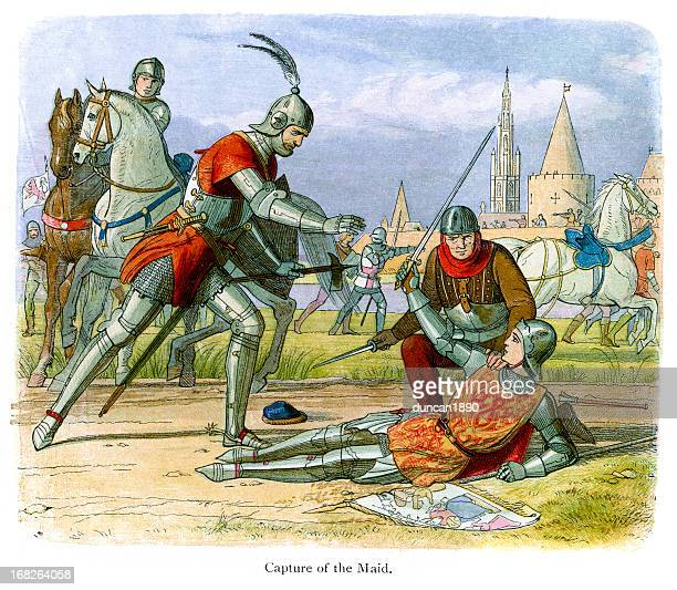 capturing joan of arc - hundred years war stock illustrations, clip art, cartoons, & icons