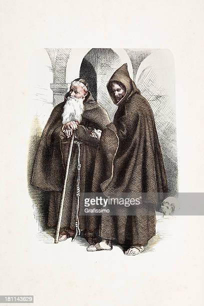 capuchin monk with traditional costumes from 19th century - religious dress stock illustrations, clip art, cartoons, & icons