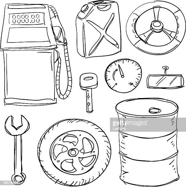 car accessories collection - fuel pump stock illustrations, clip art, cartoons, & icons