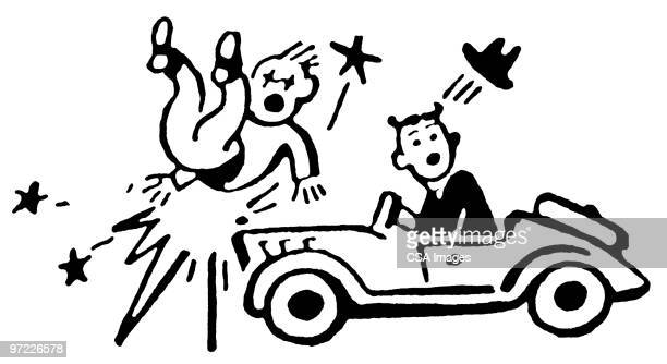 car accident - pedestrian stock illustrations, clip art, cartoons, & icons