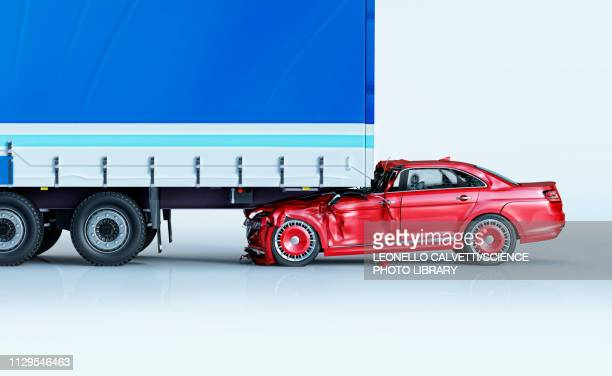 a car and a truck crashed in accident, illustration - graphic car accidents stock illustrations