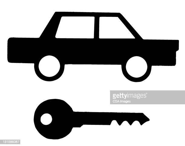 car and key - lock stock illustrations