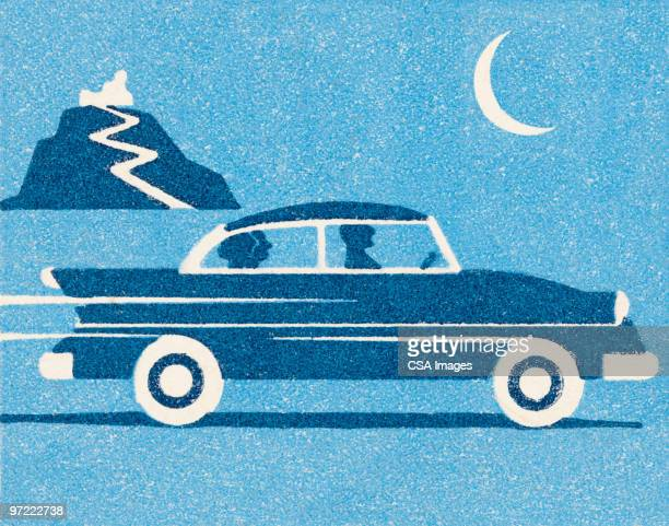 ilustraciones, imágenes clip art, dibujos animados e iconos de stock de car at night - sedan