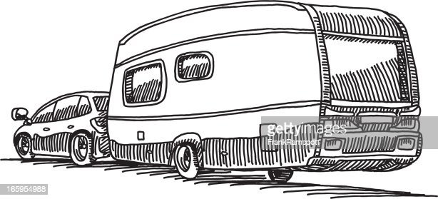 Car Caravan Camping Trailer Vector Art Getty Images
