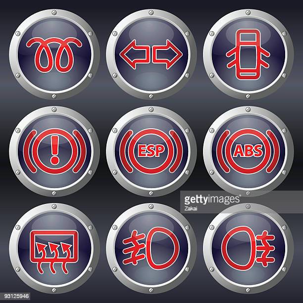car dashboard buttons - turn signal stock illustrations, clip art, cartoons, & icons