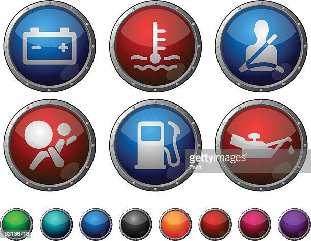 Car Dashboard - glossy buttons with steel frame.