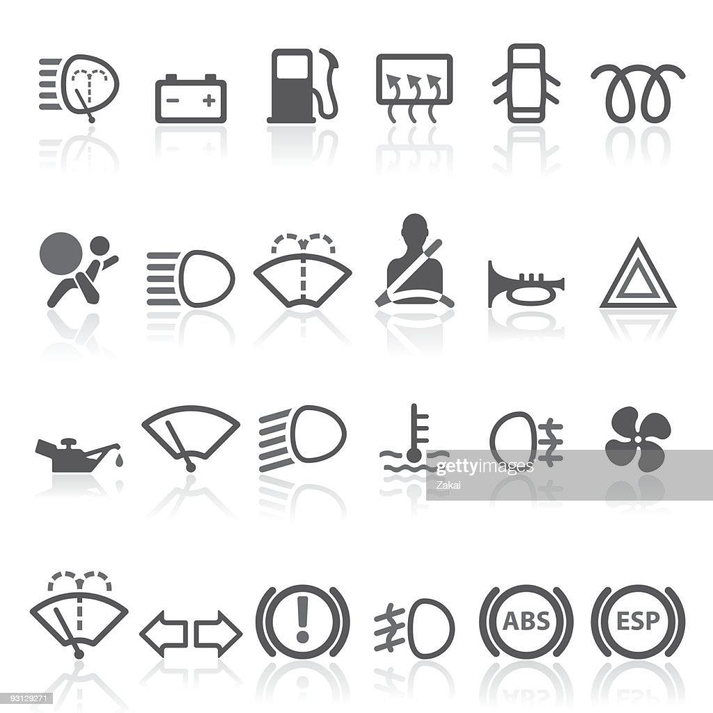 Car Dashboard - simple icons set. : stock illustration